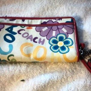 COACH PINK MULTICOLOR ZIP AROUND WALLET LEATHER TR